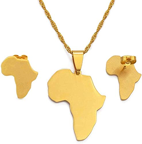 Mxdztu Co.,ltd Collar Conjuntos De Mapas De África, Collar con Colgante Y Pendientes, Color Dorado/Plateado, Mapas Africanos, Conjunto De Joyas para Mujeres Y Niñas, Longitud 60Cm