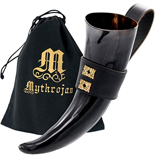 Mythrojan THE WEALTHY MERCHANT - Viking Drinking Horn with Black Leather holder Authentic Medieval Inspired Viking Wine/Mead Mug – Polished Finish