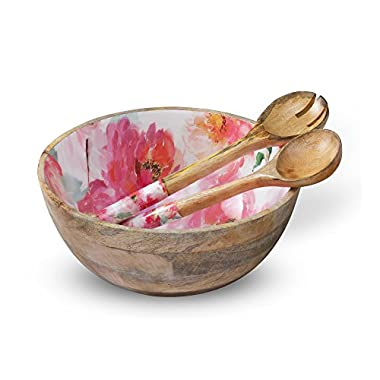 Wooden Salad Bowl Colorful Mixing and Serving Bowls Set with 2 Servers, Large Wood Container Set with Tongs for Fruits, Pasta, Cereal and Vegetable - Round 12  Diameter x 5  Height, Floral Design