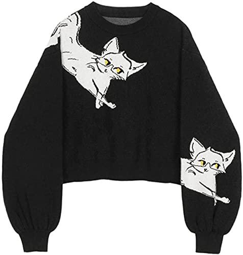 Jersey para mujer suéter O-cuello otoño animal impresión casual suelta manga larga gato moda punto corto suéter Tops