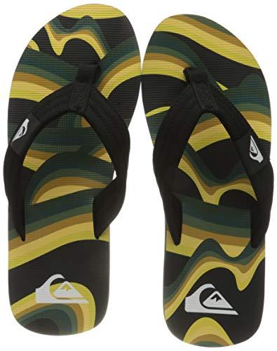 Quiksilver Mens MOLOKAI LAYBACK Flip-Flop, Black/Yellow/Green, 46 EU