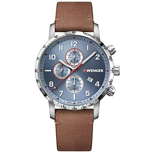 Wenger Men's Stainless Steel Swiss Quartz Sport Watch with Leather Strap, Brown, 22 (Model: 01.1543.114)