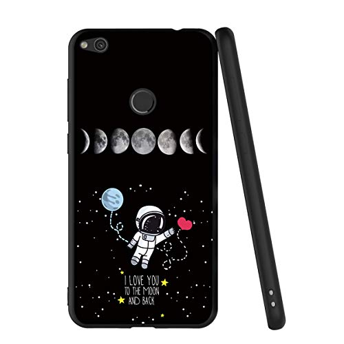 Yoedge Funda Huawei P8 Lite 2017, Ultra Slim Cárcasa Silicona Negro con Dibujos Animados Diseño Patrón 360 Bumper Case Cover para Huawei P8 Lite 2017, Globo