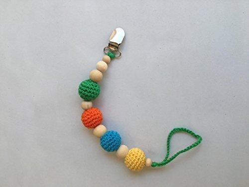 Chupetero de dentición de madera Modelo Arcoiris hecho a mano. Un regalo original y práctico para el bebé.