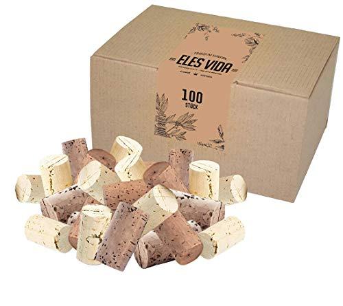 ELES VIDA 100 Nuevos tapones artesanales - tapones de corcho de botella como corchos de vino para decorar, embellecer, manualidades - tapones de corcho natural como accesorios de artesanía para niños