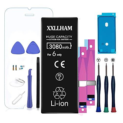 Xxllham Batteria Super Capacita Plus Compatibile Per Iphone 6 3080mah Con Kit Smontaggio Biadesivo Strumento Istruzione Manuale