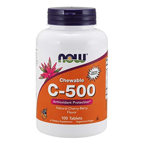 NOW Foods - Vitamina C-500 Antioxidante, proteção para mastigar Cherry-Berry 500 mg - 100 tabletes mastigáveis