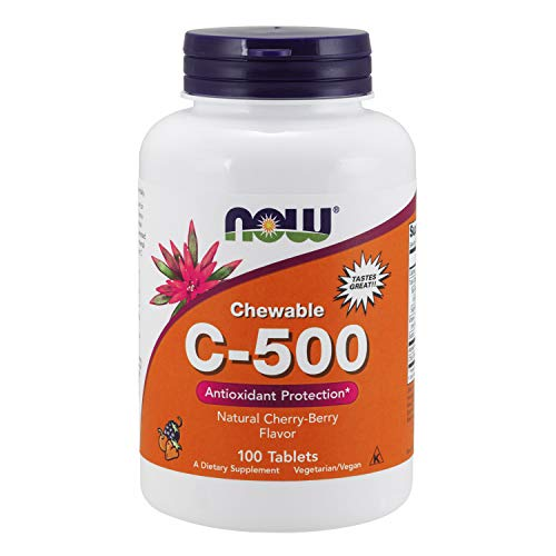 NOW Supplements, Vitamin C-500, Antioxidant Protection*, Cherry-Berry Flavor, 100 Chewable Lozenges
