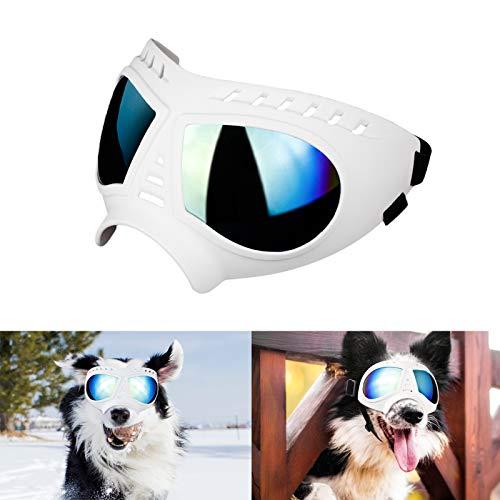 Namsan Hundebrille UV Wasserdicht Winddicht Einstellbar Hunde Sonnenbrille Mode Hunde Schutzbrille für Mittel Große Hunde-Weiß