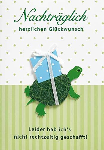 Geburtstagskarte Nachträglich Lifestyle - Schildkröte, Schleife - 11,6 x 16,6 cm