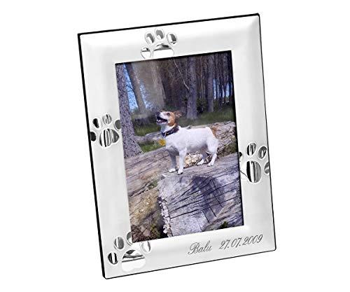 Brillibrum Design Bilderrahmen Silber mit Gravur Fotoformat 10x15cm Versilbert Hochformat & Querformat Andenken ans geliebte Haustier Fotorahmen Hunde-Pfoten Tapsen inkl. Wunschgravur bis 20 Zeichen
