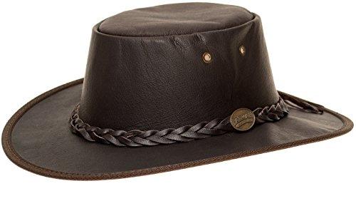 Barmah Hats Barmah 1019 Sundowner Lederhut aus Australien - Känguruleder + Kinnriemchen | Braun/Brown | Size L