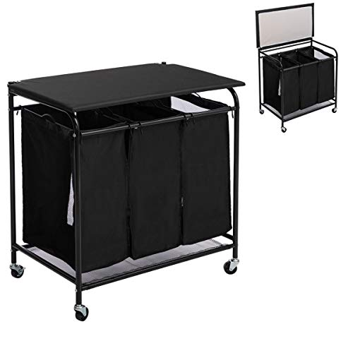 HollyHOME 3-Bags Laundry Sorter Cart with Foldable Ironing Board Rolling Heavy-Duty Laundry Hamper with Removable Bags Mobile Brake Caster Black