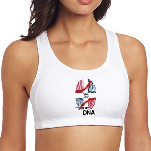 XCNGG República Dominicana Bandera de Béisbol en mi ADN Mujeres Sujetadores Deportivos Wirefree Racerback Activewear Ropa de Entrenamiento