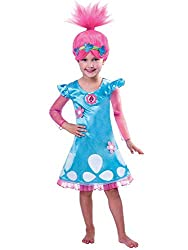 Package includes 1 pc of Trolls Costume Now your child can truly get into character in our Trolls Princess Poppy Costume, that features a blue knee length dress with mesh skirt edges and sleeves which even includes a signature child sized pink Trolls...