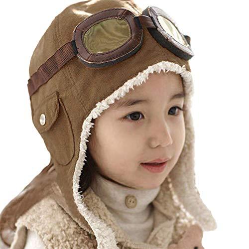 Per Bonnets en Velours d'hiver pour garçons Bonnets de Filles pour Pilotes avec