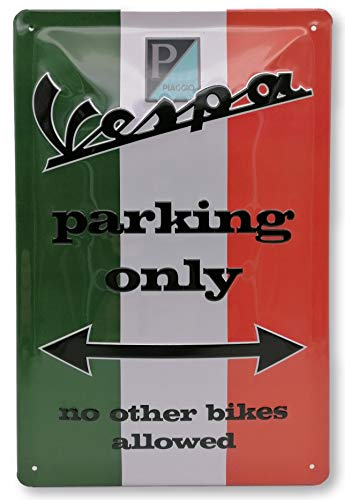 Vespa Parking Only Blechschild, hochwertig geprägtes Retro Werbeschild, Türschild, Wandschild, 30 x 20 cm