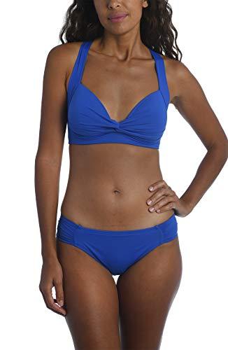 La Blanca Women's Standard Island Goddess Keyhole Banded Bikini Swimsuit Top, China Blue, 10