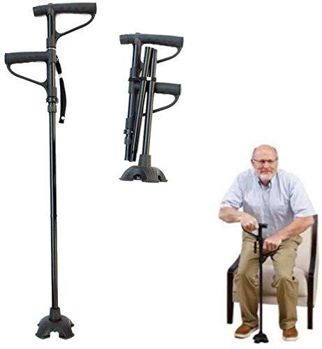 wyfdm CLCYL Gehstock, für ältere Gehhilfen, 3 Füße, Rutschfester Gehstock, teleskopisch, höhenverstellbar