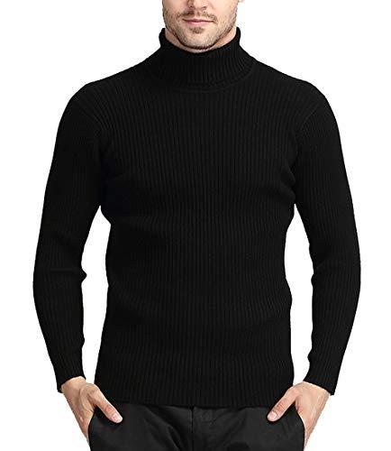 Vorgelen Suéter Hombre Jersey De Cuello Alto Delgado Manga Largo de Punto Tamaño