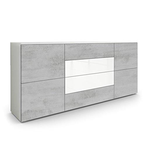 Vladon Sideboard Kommode Rova, Korpus in Weiß matt/Fronten in Beton Oxid Optik und Weiß Hochglanz