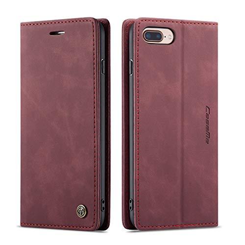 QLTYPRI Hülle für iPhone 6 Plus 6S Plus, Vintage Dünne Handyhülle mit Kartenfach Geld Slot Ständer PU Ledertasche TPU Bumper Flip Schutzhülle Kompatibel mit iPhone 6 Plus 6S Plus - Rot