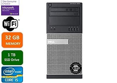 Dell Optiplex 9020 Mini Tower Desktop PC, Intel Core i5-4570-3.2 GHz, 32GB Ram, 1TB(1000GB) SSD Drive, WiFi, DVD-RW, Windows 10 Pro (Renewed)