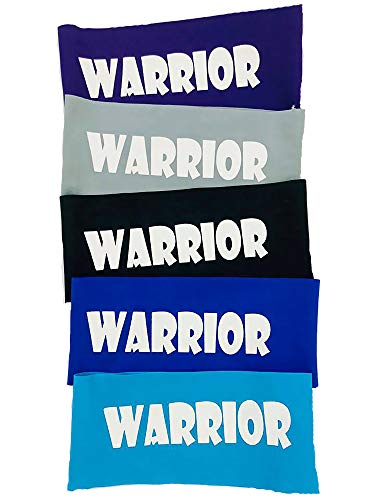 5 Pack of Ninja Headbands, Warrior Headband for Kids, Adult Wide Headbands, Ninja Party Favors for Boys, Unisex Athletic Headgear Five Pack - Set of 5 (Multi Blue)