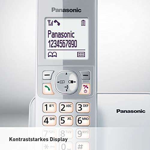 Panasonic KX-TG6811GS DECT Schnurlostelefon (strahlungsarm, Eco-Modus, GAP Telefon, ohne Anrufbeantworter, Festnetz, Anrufsperre) perl-silber