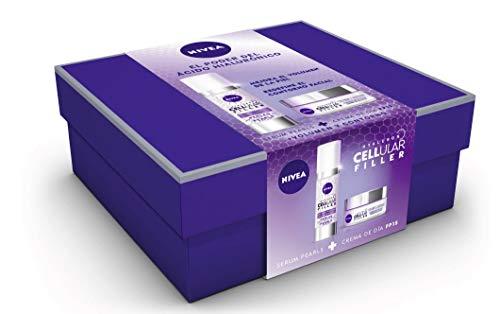 NIVEA Pack Hyaluron Cellular Filler, Crema de Día Antiedad y Serum Pearls set de belleza en estuche de regalo para una piel más firme y con más volumen