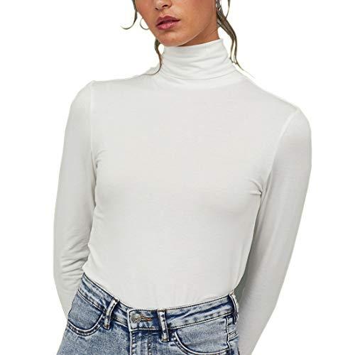 Cuello Alto Camisetas de Manga Larga Mujer Algodón Negro Marca Moda Caual Slim Camisas Ropa (Blanco, M)