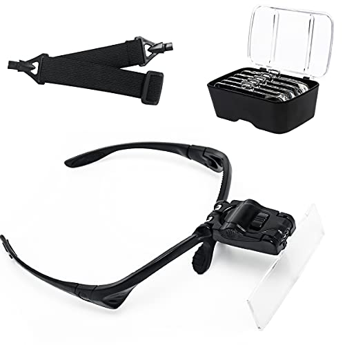 MISMXC Head Magnifier Glasses with 2 LED Light, Hands Free Headband Magnifying Glass 5 Lenses 1.0X 1.5X 2.0X 2.5X 3.5X for Eyelash Extension, Jewelry, Arts and Crafts Close Work