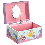 SONGMICS Musical Jewelry Box for Kids with a Ballerina Inside, Mermaid Motif, Spacious Compartment, Mirror, 5.8″L x 4.2″W x 3.3″H, Pink
