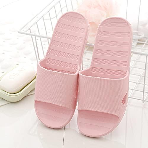 Sandalias De Interior Mujer Casa Baño Zapatillas de baño resbaladizas, Hotel Casa de Familia Sandalias de Punta Abierta Antideslizantes Zapatos de jardín Rosa EU35-36