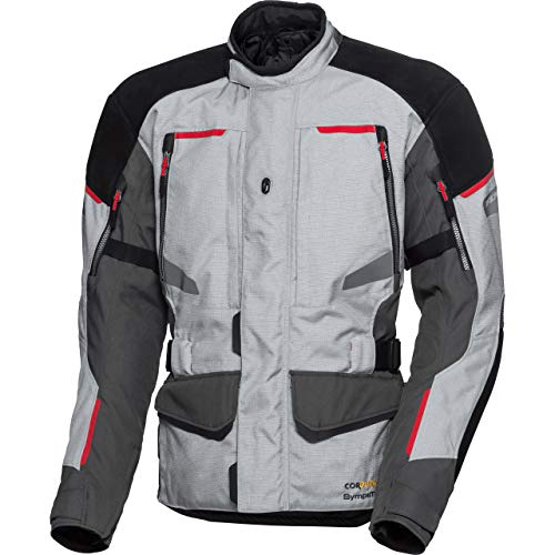 FLM Motorradjacke mit Protektoren Motorrad Jacke Touren Leder-/Textiljacke 4.0 grau/schwarz XL, Herren, Tourer, Ganzjährig