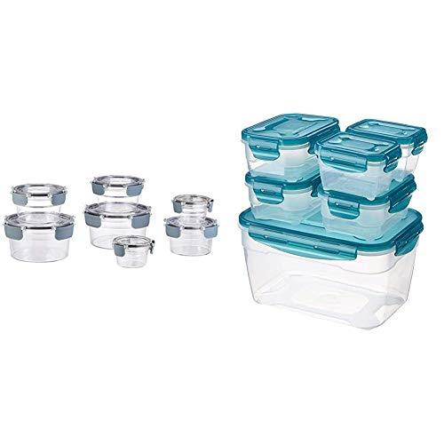 AmazonBasics - Tritan-Frischhaltedose mit Verschluss, 14er-Packung (7 dosen + 7 deckeln) & 6 pcs Food Storage Set