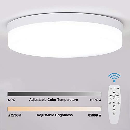 Combuh Plafoniera LED Dimmerabile(2700K-6500K)36W Regolazione della Temperatura di Colore con Telecomando Lampade da soffitto per cucina, camera da letto, soggiorno, ufficio