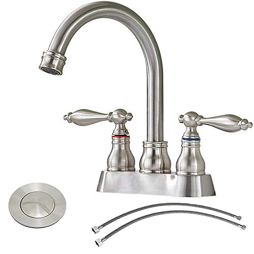 IKEBANA Modern 2 Handles Brushed Nickel Bathroom Faucet, Commercial Stainless Steel 2 Holes Bathroom Sink Faucet,Best 4 Inch Centerset Brass Bath Lavatory Vanity Laundry Faucets Set With Pop-Up Drain