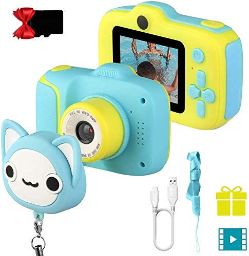 Etpark Kids Selfie Camera, Children Digital Camera Toys with 28 Funny Filters, 1080P HD Video Recorder, Supports Small Games, Great Gift for 3-10 Year Old Boys Girls with 32GB SD Card(Blue)