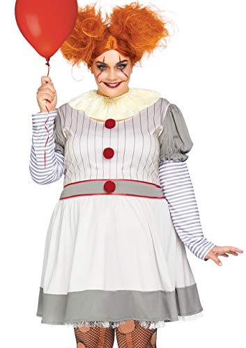 Leg Avenue Plus Size 2 Piece Creepy Clown Striped Dress Set-Scary Horror Halloween Costume for Women, Multi, 3X   4X