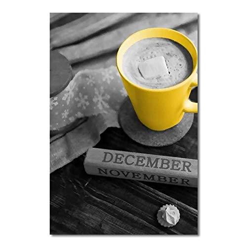 CNHNWJ Print gele kop koffie canvas schilderij muurkunst afbeeldingen Home Decoration Poster Afbeelding Woonkamer kantoor Room Decor (60x80cmx1 / geen lijst)