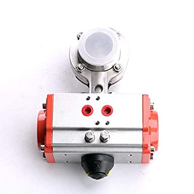 "1.5"" (1.5 inch) OD: 50.5mm, ID: 35.1mm Triclamp Sanitary Butterfly Valve Pneumatic Actuator Butterfly Valve SS304 from HODEE"