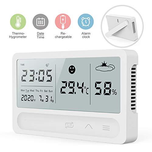 iKALULA Digitales Hygrometer Thermometer Innen, Digitales Thermo Hygrometer mit Wecker und 2s Schnelle Erkennung USB Aufladbar Temperatur und Feuchtigkeitsmesser für Babyraum, Wohnzimmer, Büro - Weiß