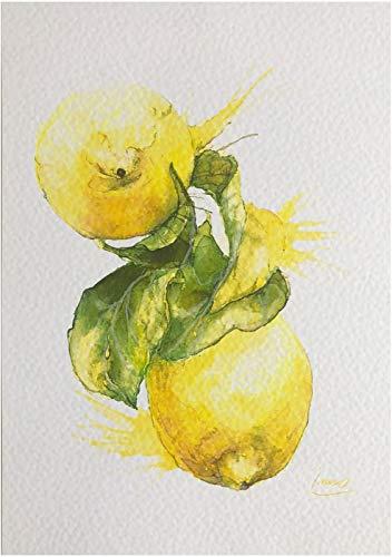 INAOART VITAL Aquarell - Zitrone auf dem Zweig - DIN4, Kunst Druck, Küche, Bild, Deko, Obst, Mindset für Energie!