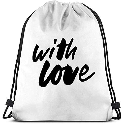String Gym Backpack Customized Männer und Frauen Sport Drawstring Bag Liebe Slogan zerrissenes Papier Valentinstag Slogan Top Liebe Slogan zerrissenes Papier Valentinstag