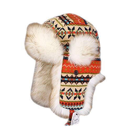 Insun Insun Wintermütze Fliegermütze Gestrickt Pilotenmütze Uschanka Russenmütze Ohrenschützer für Erwachsene und Kinder Mehrfarbig 1 S Hut Umfang 52cm