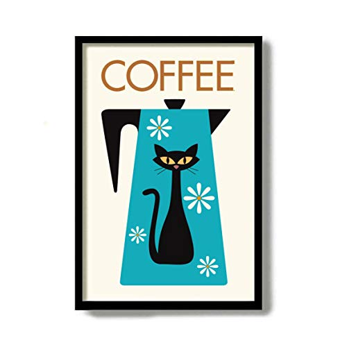 Decoración moderna para pared de gatos negros de mediados de siglo para cocina, gato, café, bebedor, diseño retro de gatos, decoración Kitsch