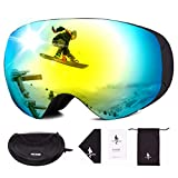 FREE SOLDIER Gafas Esqui para Hombres y Mujeres Gafas Snowboard Antivaho OTG con Lentes Extraíbles Gafas de Esqui sin Marco Magnéticas de Invierno con Protección 100% UV400(Dorado-8% VLT)