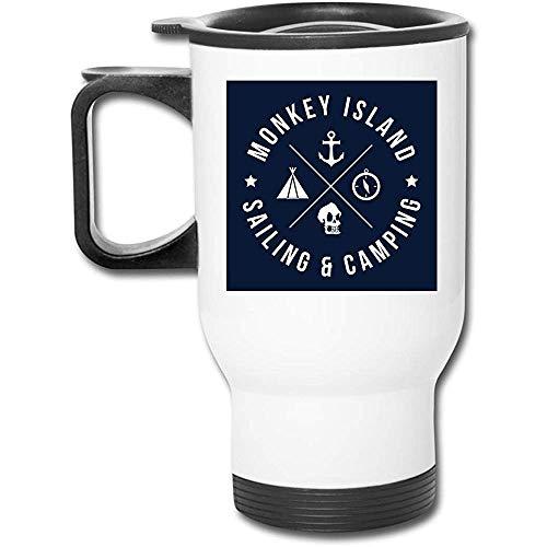 Monkey Island Sailing And Camping Taza de café de vacío de doble pared con vaso inoxidable de 16 oz