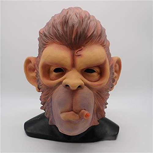 KXIN Máscara De Halloween Gorila, Divertido Mono Máscara De Fumar, Maquillaje Party Props Carnaval Partido Máscara De Mono, Capucha Animal De Látex